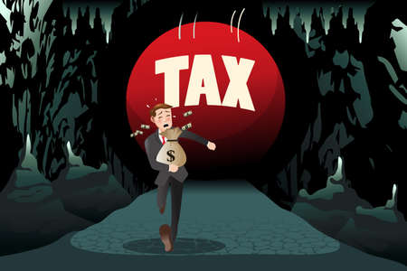 A vector illustration of businessman running away from tax for tax concept Ilustração