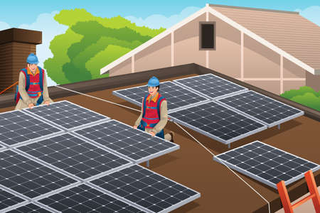 A vector illustration of workers installing solar panels on the roof