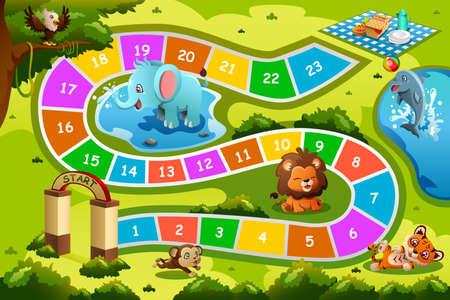 A vector illustration of board game design in animal theme Stock Illustratie