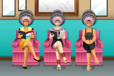 Een vector illustratie van vrouwen in haarsalon