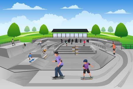 스케이트 공원에서 스케이트 보드를 노는 사람들의 벡터 일러스트 레이션