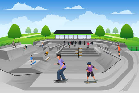 A vector illustration of people playing skateboard in a skate park