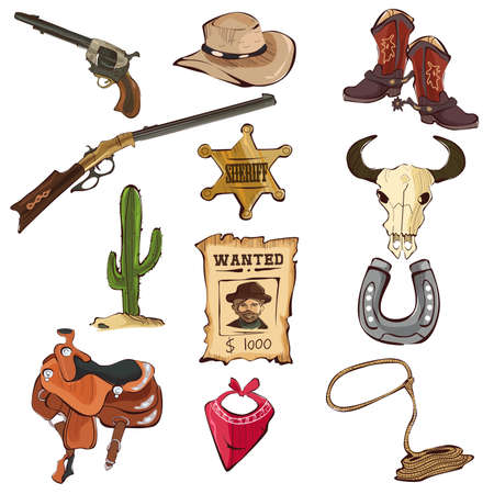 western saddle: A vector illustration of American old Western icon sets