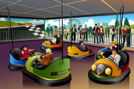 A vector illustration of happy kids playing car in a Theme Park Illustration