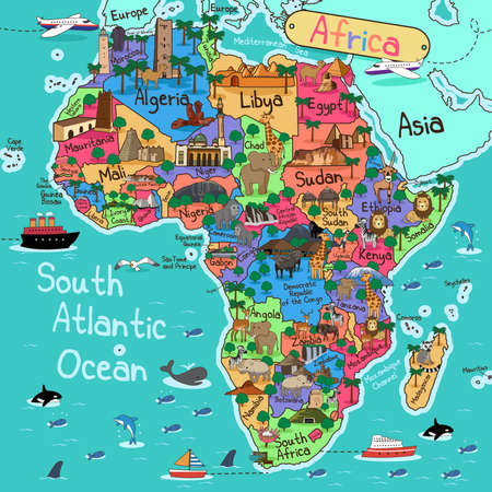 A vector illustration of Africa map in cartoon style  イラスト・ベクター素材