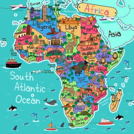 Een vector illustratie van de kaart van Afrika in cartoon-stijl