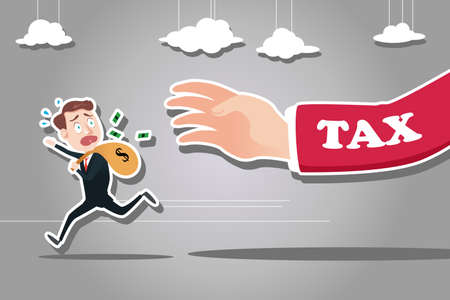 A vector illustration of businessman running away from tax for tax concept