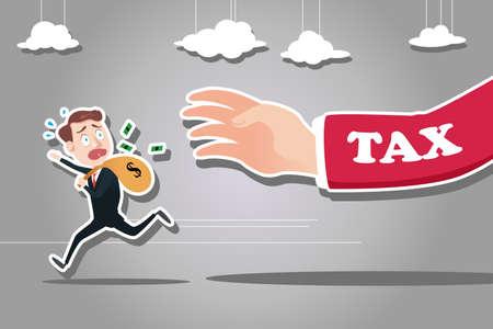 Una illustrazione vettoriale di uomo d'affari fuggendo da imposta per il concetto di imposta