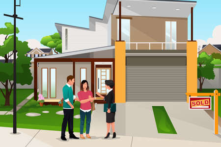 A vector illustration of real estate agent handing the key to a couple Vectores