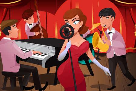 Una ilustración vectorial de la banda de jazz con una cantante en un club nocturno