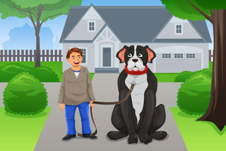 male teenager: A vector illustration of happy boy and his big dog in the neighborhood
