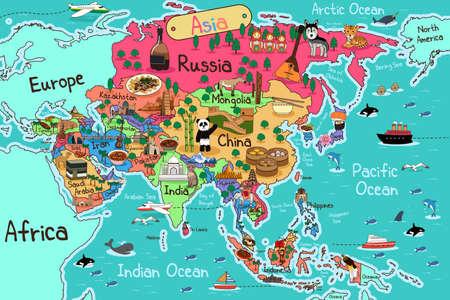 Een vector illustratie van Azië kaart in cartoon-stijl