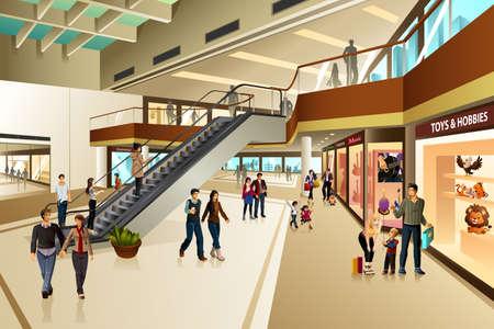A wektor sceny wewnątrz centrum handlowego