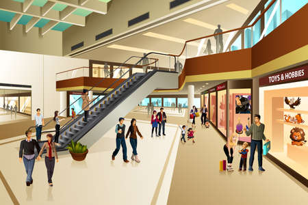 plaza comercial: Una ilustración vectorial de escena en el interior del centro comercial Vectores