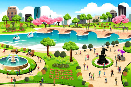 A vector illustration of people visiting a public park Vectores