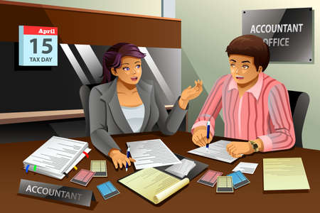 A vector illustration of accountant helping a man filling the tax in office