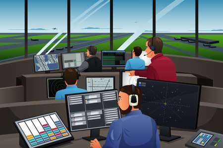 A vector illustration of air traffic controller working in the airport Vectores