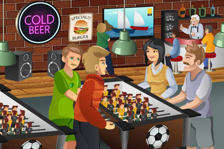 foosball: A vector illustration of young people playing foosball in a bar