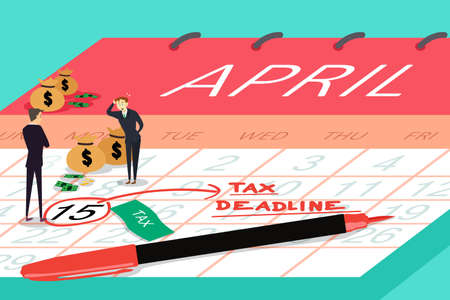 A vector illustration of businessmen standing on top calendar with tax deadline written on the calendar for tax deadline concept Ilustrace