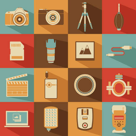 A vector illustration of camera icon sets