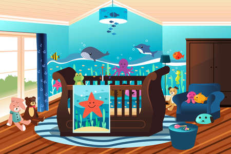 nursery room: A vector illustration of baby nursery room with undersea theme
