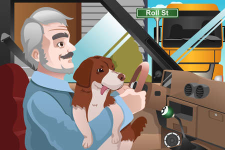 lap dog: A vector illustration of a senior man driving in the city with his dog on his lap Illustration