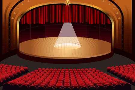 빈 극장 무대의 벡터 일러스트 레이션 일러스트
