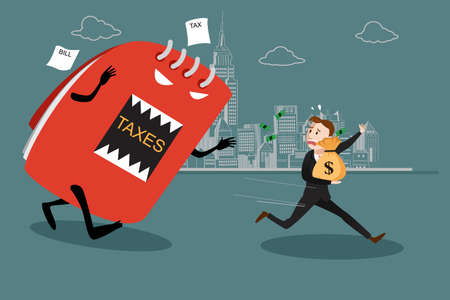 A vector illustration of businessman running away from tax for tax concept Çizim
