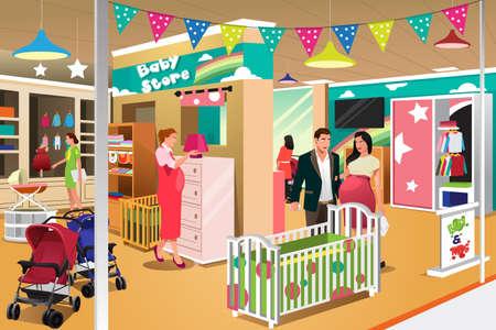 Una illustrazione vettoriale di coppia in attesa di acquistare un presepe in un negozio per bambini Vettoriali