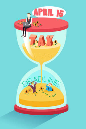 A vector illustration of businessman sitting on top hourglass with sand falling down for tax deadline concept