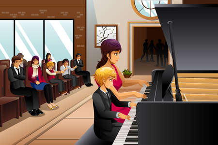 cartoon clipart: A vector illustration of boy in piano recital with his teacher Illustration