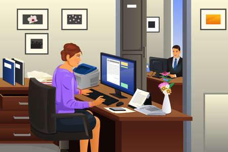 Una ilustración vectorial de secretaria que trabaja en la oficina Ilustración de vector