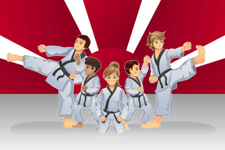 karate practice: A vector illustration of martial art banner with kids practicing karate Illustration