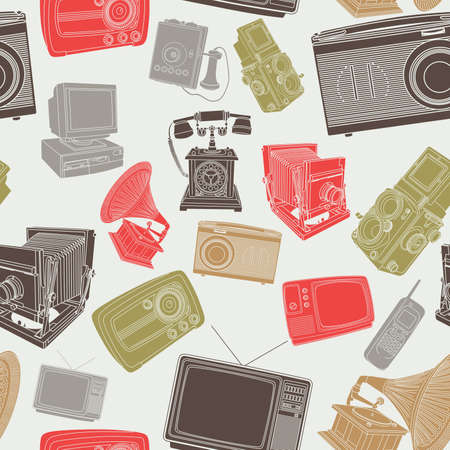 old items: A vector illustration of wallpaper of old electronic items