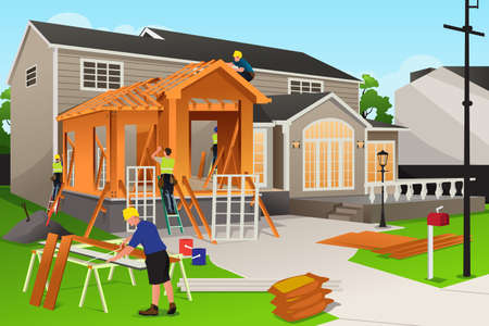 A vector illustration of workers working on home renovation Vectores