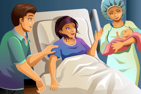 A vector illustration of midwife helping mother delivering a baby