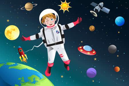 Una illustrazione vettoriale di bambina vestita come astronauta