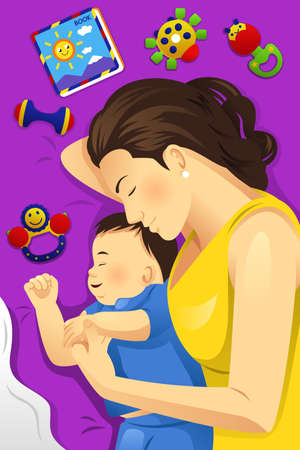 baby and mother: A vector illustration of happy mother sleeping together with her baby