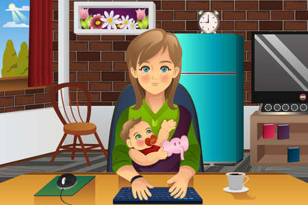 work at home: A vector illustration of mother holding her baby while working at home Illustration