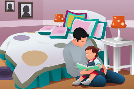tell stories: A vector illustration of father telling a story to his daughter in bedroom