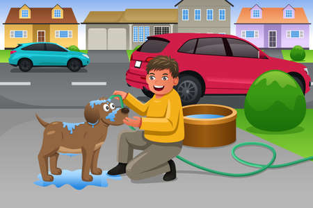 A vector illustration of little boy giving his dog a bath in the driveway