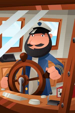 Une illustration de vecteur de capitaine de bateau en service