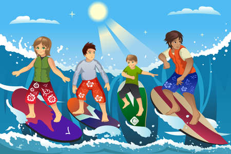 surfing beach: A vector illustration of surfers surfing on the ocean