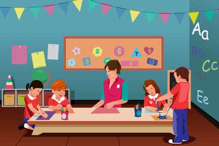 maestra preescolar: Una ilustración vectorial de estudiantes que estudian en clase con el profesor Vectores