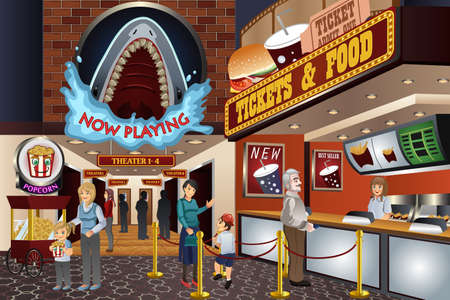 family fun: A vector illustration of people waiting to buy tickets in a movie theater Illustration