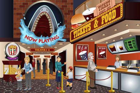 Una ilustración vectorial de gente esperando para comprar los boletos en una sala de cine