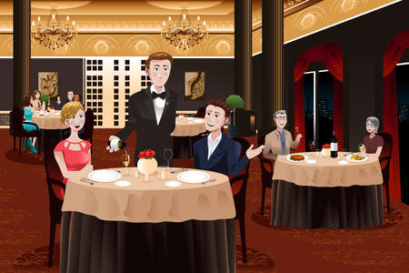 servings: A vector illustration of a waiter in a restaurant serving customers Illustration