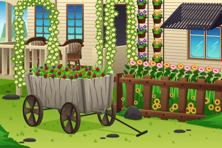 flower illustration: A vector illustration of summer garden scene