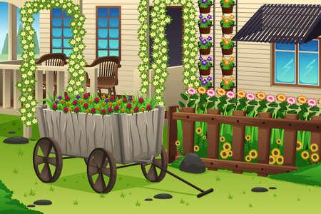 jardines con flores: Una ilustraci�n vectorial de la escena del jard�n del verano