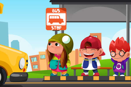 female friends: A vector illustration of cute kids waiting at a bus stop Illustration